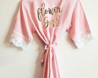 Flower Girl Robes Flower Girl Gift Ideas for Girls Robe For Wedding Robe Girl (EB3223BPW) Child Size Lace Robes