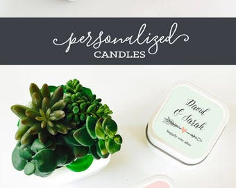 Candle Tins Bridal Shower Candles Custom Candle Favors Personalized Favors Personalized Candle Favors Candle Tin Favors (EB2077GDN) 12  pcs