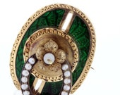 Gold and Silver Green Enameled and Pearl Victorian Era Brooch