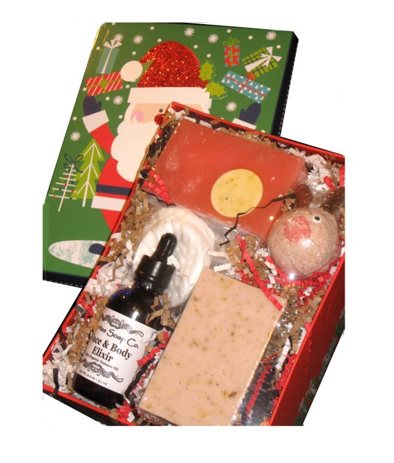 GIFT BOX - 2.0 oz. Face & Body Elixir, 2 Full Soap Bars and 1 Small Bath Bomb - Holiday / Christmas / Gift for Teen / Gift under 40 / Teen