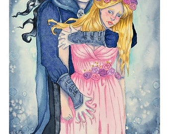 "Print of ORIGINAL watercolor painting ""Hades and Persephone"""