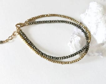Pyrite Bracelet-Bracelet For BFF-Sister Gold Bracelet-Gold Pyrite Bracelet-Gold Wife Bracelet-Gift From Boyfriend-Everyday Bracelet-New Job