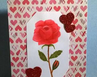 Valentine Card, Watercolor, Husband, Wife, Handmade