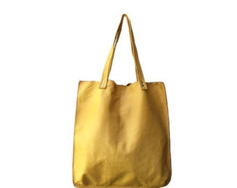 Yellow leather tote bag,Yellow Leather bag,Yellow leather shoulder bag,Women yellow bag