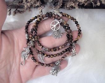 Tiger Eye Bracelet Necklace,Beaded Bracelet Necklace, Elastic Bracelet, Charm Necklace, Witchy Ways