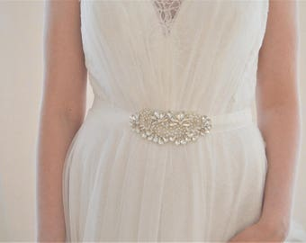 ROOKE Crystal and Pearl Wedding Dress Belt/Sash