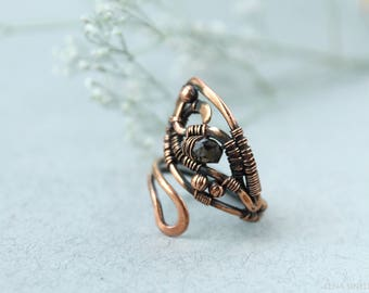 Smoky quartz ring Copper Ring Wire wrap Ring Wire jewelry Wire wrapped jewelry Gift for her  Wire wrapped ring Copper jewelry Simple jewelry