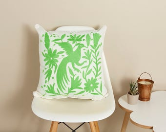 Otomi Pillow Cover, Mexican Otomi, Otomi Embroidery, Hand Embroidered Cushion, Mexican Pillow, Boho Pillow, Pantone Green, Ethical cushion