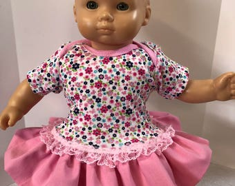 "15 inch Bitty Baby Clothes, Beautiful Bold Colors ""Garden of FLOWERS"" Ruffle & Lace Trim Dress, 15 inch AG Bitty Baby Doll and Twin Dolls"