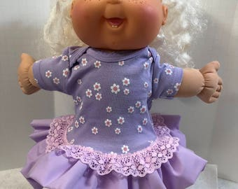 "Cabbage Patch 14 inch BABY or Smaller 14 inch Doll Clothes, Purple ""White/Pink DAISY"" Ruffle & Lace Trim Dress, Cabbage Patch Doll Clothes"