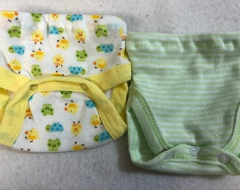 Baby Doll Diaper Covers, Panty, 15 inch AG Bitty Baby Clothes, Fits 16 inch Cabbage Patch Doll,SET of 2 for 3.00, Ducks,Turtle,Frogs & Green
