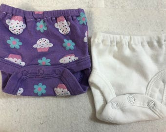 Baby Doll Diaper Covers, Panty, 15 inch AG Bitty Baby Clothes or Twin, Fits 16 inch Cabbage Patch Doll, SET of 2 for 3.00, CUPCAKES & White