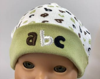 "15 inch Bitty Baby Doll Hat, Adorable ""ABC'S"" Doll HAT, 15 inch Bitty Baby Clothes or Twin Doll Clothes, 15 inch Baby Doll Clothes"
