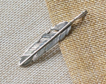 Sterling Silver Feather Pendant, Long Feather Pendant,Bohemian Feather,Boho Silver Feather,55x10mm,8x4mm Bail, Boho Jewelry,One, GS16-001