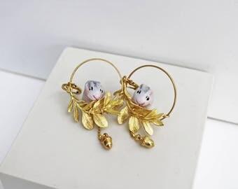 boucles d'oreilles créoles couronne de feuilles or hamster gris /fabriqué à la main