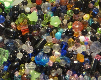 Assorted Mix Glass & Gemstone Beads, Assorted Styles and Colors, Approx. 2-16mm, 1/2 lb.
