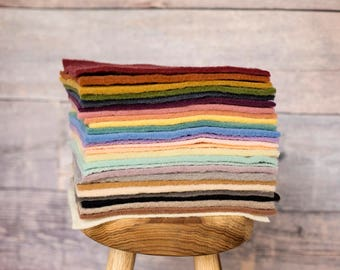 Every Color Rainbow Pack of Bluegrass Dyed Prefelt for needle felting or wet felting - 26 colors - domestic wool - handmade on a FeltLOOM