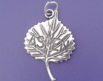ASPEN LEAF Charm .925 Sterling Silver Colorado Pendant - lp1975