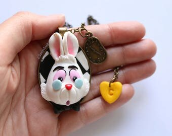Cameo Necklace Rabbit Alice in Wonderland.