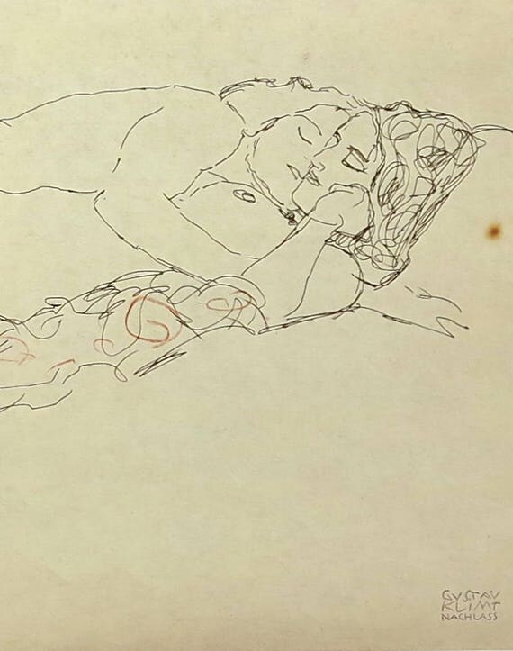 Large Gustav Klimt print of ink and crayon drawing of 2 nude women reclining together, 9 x 14 ins, 23 x 35.5 cm, published 1980