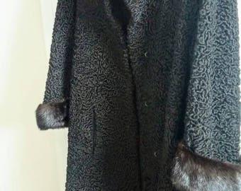 Vintage Black Persian Lamb Fur Coat Mink Fur Trims - Ladies Small -Fashion Retro 50s 60's Winter Coat - Glam Evening Holiday Wedding Outwear