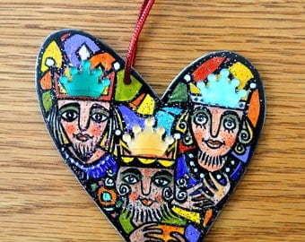 We Three Kings Christmas Ornament - Hand Drawn and Painted - One of a Kind