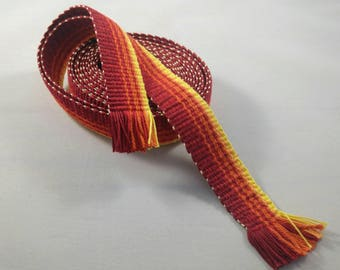 "Inkle weaving ribbon, strap, band, or trim - 1"" handwoven -  SCA, LARP, Viking, and Cosplay - Fire"