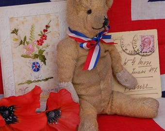 Antique teddy bear Mittens, a little old soldier measuring just 9 inches 1910
