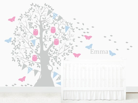 Nursery Wall Decal Large Butterfly Tree Baby Nursery Kid Toddler Room Owl Colorful Garland Removable Wall Sticker Woodland Choose Your Name