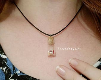 Mini Pokeball bottle charm necklace