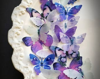 18 Pastel Ultra Violet & White Edible Butterflies Wedding Cake Toppers