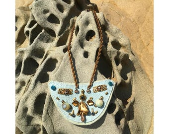 "THE SHIELD NECKLACE by Gilded-Mane : Reclaimed Vintage Jewelry on Sky-Blue Leather, ""The Future is Female,"" Medium"