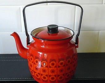 Vintage Enamel Kaj Franck Arabia Finel Kettle Teapot Red Daisy Finland