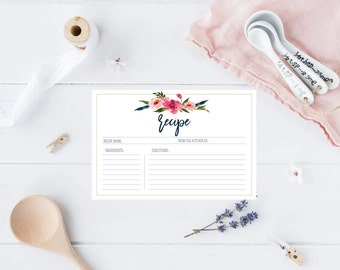 Printable Navy Floral Recipe Card for Bridal Shower, Bridal Shower games, peony navy watercolor, Recipe card download, shower activity