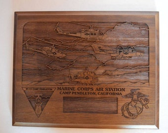 Vintage Marine Corps Air Station Solid Wood Plaque