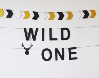 Wild one garland banner, Wild one birthday, 1st birthday party decor, Woodland nursery gift