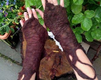 The 'Aelfdene' Earthy Dryad Felted Gloves, Elf Mittens, Faery Cuffs, Elfin Wrist Warmers, Elvish, Pixie Wear Fantasy Costume Accessories