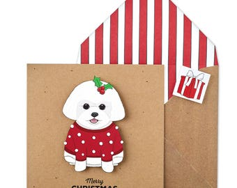 Personalised Festive Bichon Frise Christmas Card or Multipack - Unique Handmade Christmas Card with Matching Envelope and seal