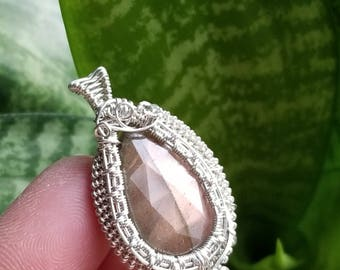 Wire wrapped faceted Labradorite stone Pendant Handmade wire wrap