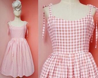 Plaid Dress Women Gingham Dress Pin Up Dress Rockabilly Dress Sundress Strap Dress Cotton Dress Pleated Dress Knee Length Dress Small Size 6
