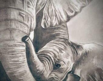 """Elephant canvas art, 12"""" x 8"""""""