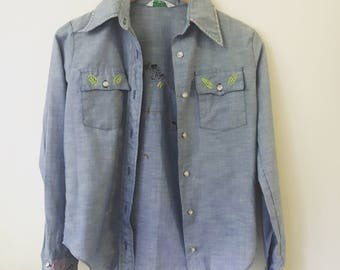 Vintage Hand Embroidered Chambray