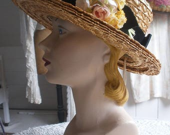 Vintage straw boater hat with millinery flowers, Webflex