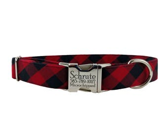 Personalized Laser Engraved Metal Buckle Buffalo Plaid Check Dog Collar- All Sizes - 2-3 Week Ship Time
