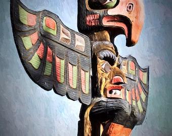 Thunderbirds, Totem Pole Print, Tribal Art, Native American, Native American Art, North American Indian,Native American Decor, Cedar Carving