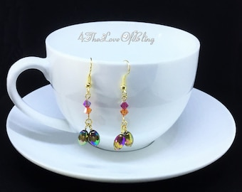 EASTER EGGS, Made with Swarovski Crystals and Glass barrel metallic beads, like Coloured Foiled Eggs, Rainbow colored gold plated ear wire