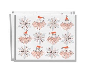 Letterpress Christmas Card, Holiday Card, Box Set of 8, Retro 60s 70s mid century santa Vintage, red black grey snowflakes