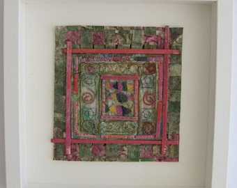 TEXTILE ART EMBROIDERY - Handmade paper, Embroidery, Wall art , Architecture, Wall decor, mixed media Art , original art