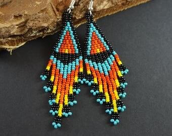 Native beaded earrings Seed bead earrings with fringe 4th July American style beadwoven earrings Traditional folk earrings Dangle earrings