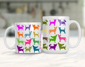 Chihuahua Lover Mug, Colorful Chihuahua Dog Mug, Animal Lover Gift, Small Dog Lover Gift, Chihuahua Dog Breed Mug, Colorful Small Dogs